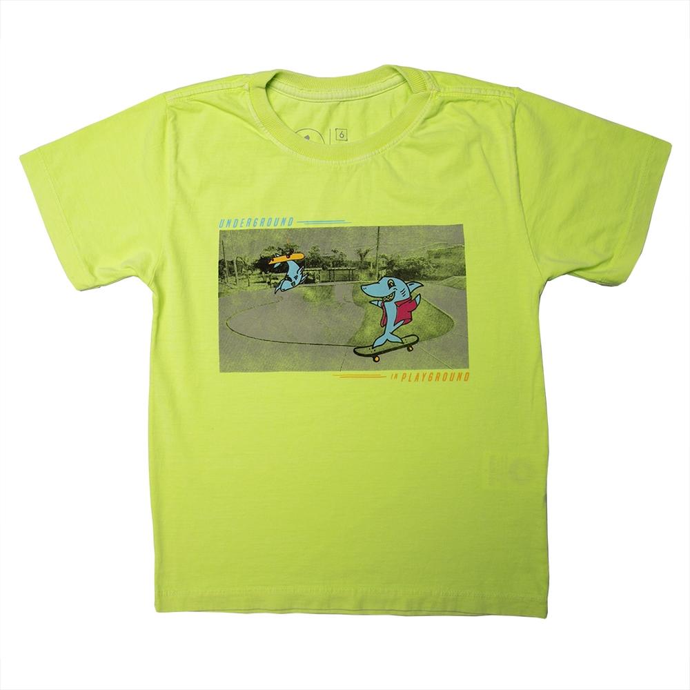 Camiseta Stone Verde Neon Estampa Frontal Pista Skate Calif