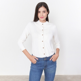 Blusa Social Manga Comprida Malha Branca