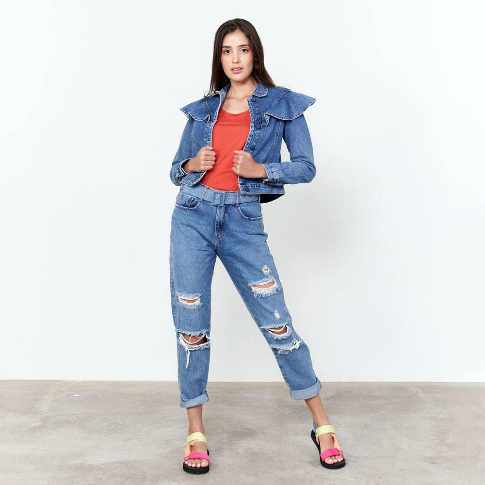 Calça Mom Cinto jeans