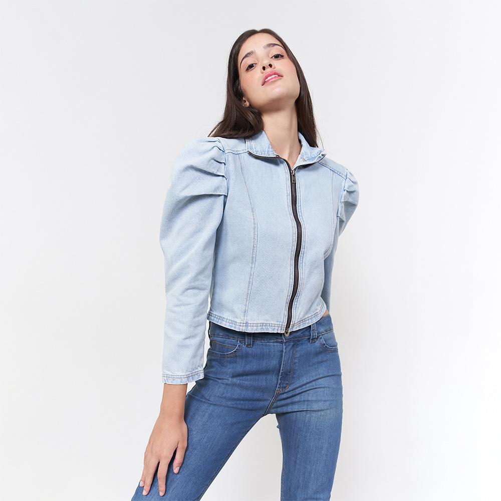 Jaqueta Jeans Claro Zíper