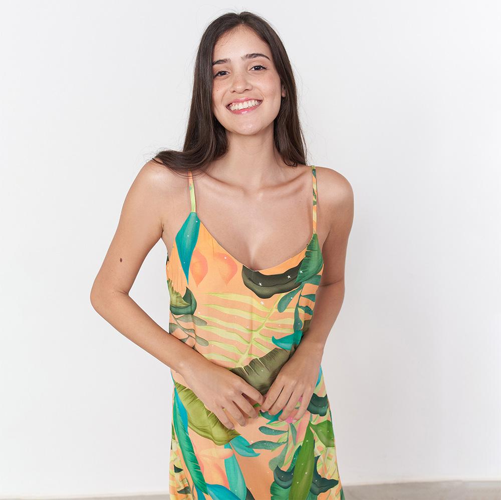 Vestido Longo Pontas Bico de Tucano