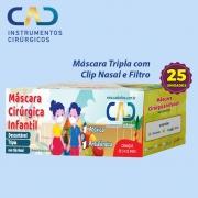 MASCARA DESCARTAVEL CLIP NASAL ELASTICO INFANTIL TRIPLA AZUL CX C/25