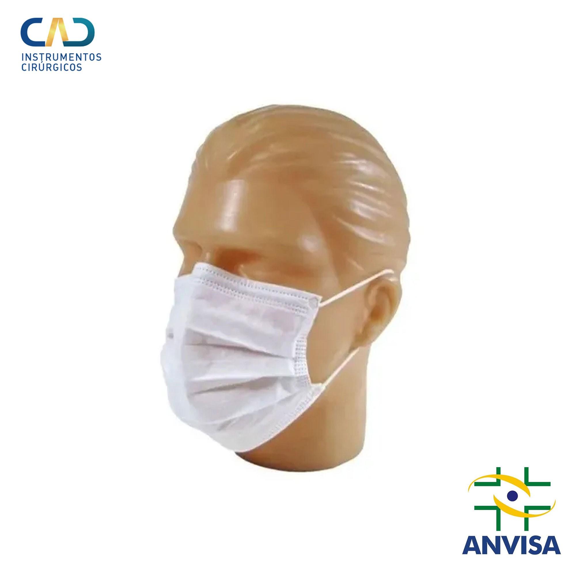 Máscara Cirúrgica Descartável Tripla com Elástico Bco