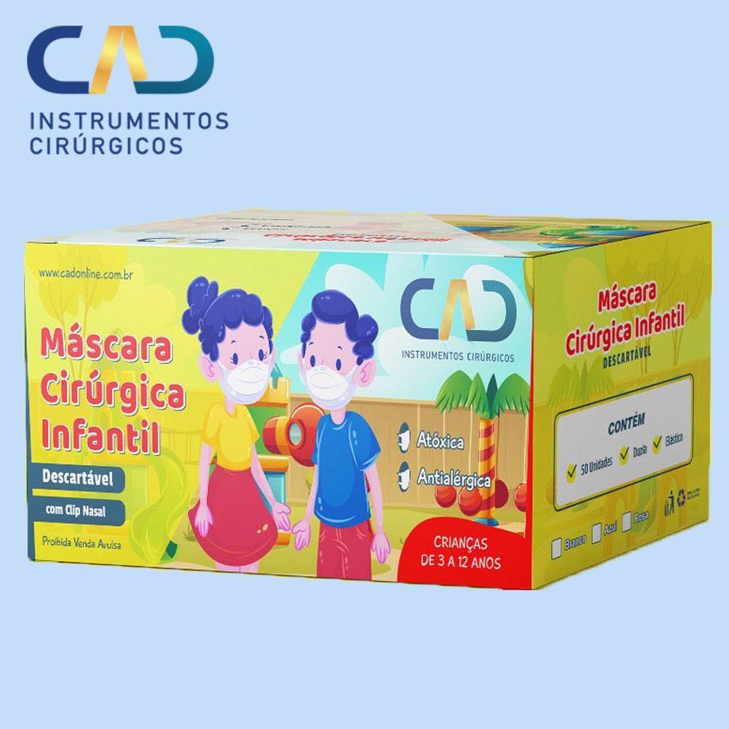MASCARA DESCARTAVEL CLIP NASAL ELASTICO INFANTIL TRIPLA AZUL CX C/50