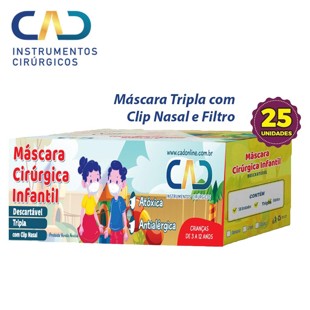 MASCARA DESCARTAVEL CLIP NASAL ELASTICO INFANTIL TRIPLA BRANCA CX C/25