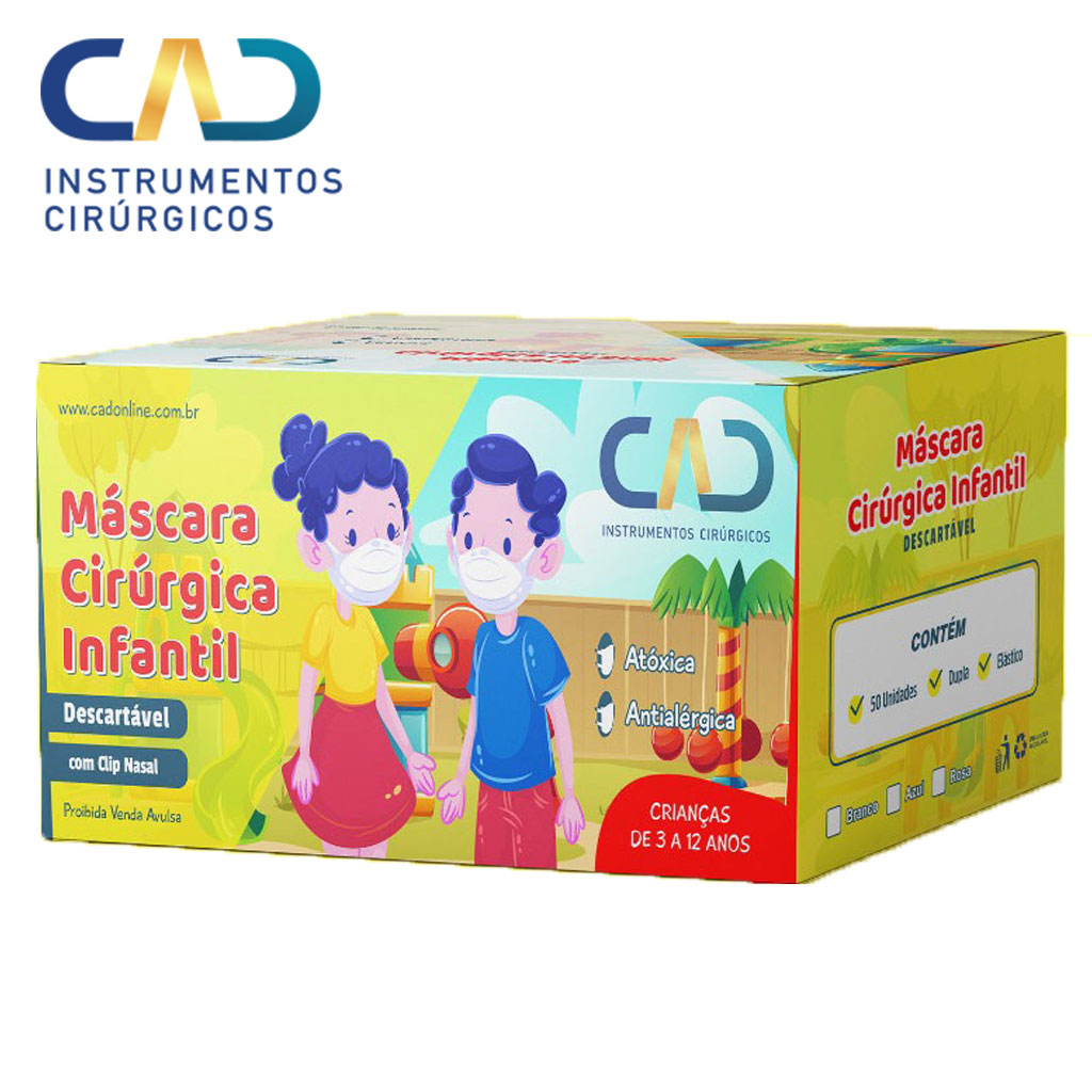 MASCARA DESCARTAVEL CLIP NASAL ELASTICO INFANTIL TRIPLA BRANCA CX C/50