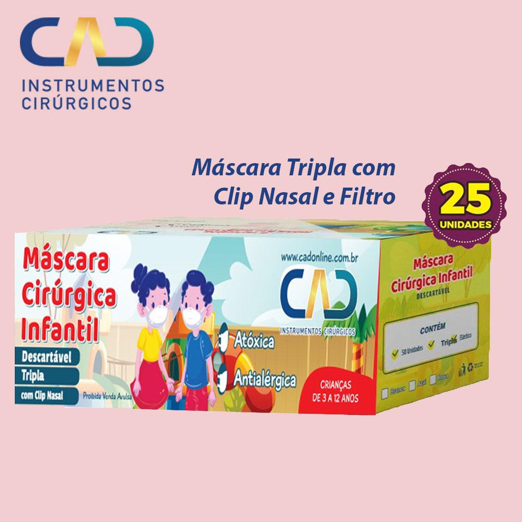 MASCARA DESCARTAVEL CLIP NASAL ELASTICO INFANTIL TRIPLA ROSA CX C/25