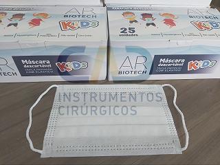 Máscara Infantil Kids Descartável Tripla 25unidades por caixa - AR Biotech