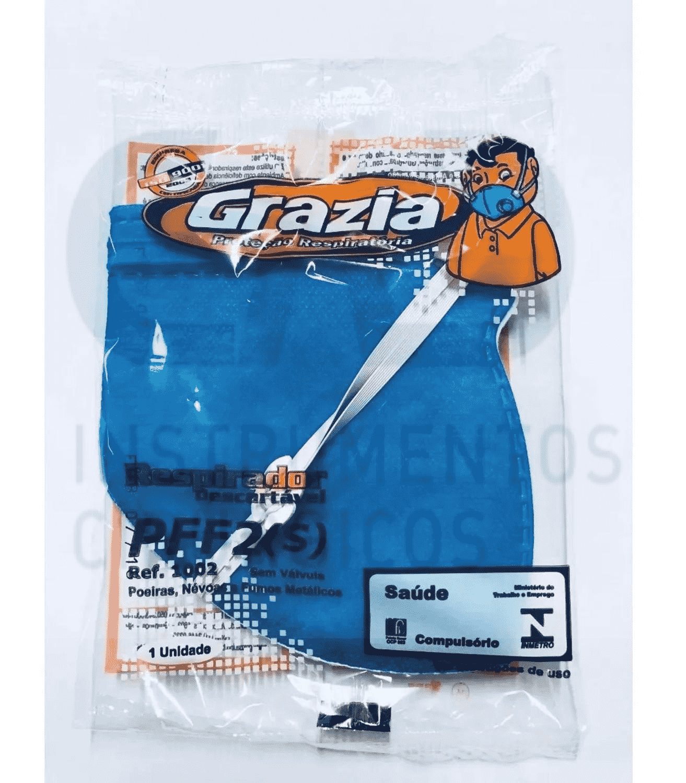 MASCARA GRAZIA DESCARTAVEL CLIP NASAL ELASTICO PFF2 AZUL PCT C/01