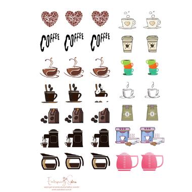 Adesivo para planner Café - Estrelari