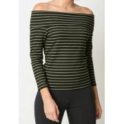 Blusa canelada listrada ombro a ombro Verde -