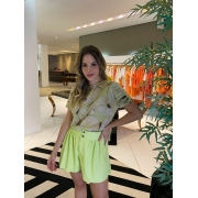 Blusa mg. pregada estamp. borboleta Verde -
