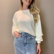 Blusa trico trança Off white -