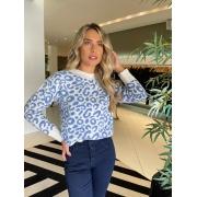Blusa tricot animal print Azul -