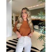 Blusa tricot basic cropped Caramelo -