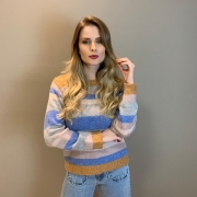 Blusa tricot listras Colorido -