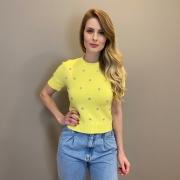 Blusa tricot mg curta det. rosa Amarelo -