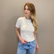 Blusa tricot mg curta det. rosa Off white -