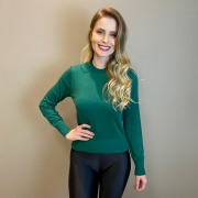 Blusa tricot mg lg básica Verde -