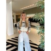 Blusa tricot zebra Bege/Preto -