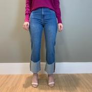 Calça jeans reta barra virada Azul -