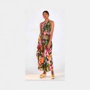 Calça pantalona pincelada de flor verde