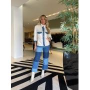 Calça patchwork cropped Azul -