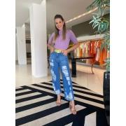 Calça reta rasgos na frente Jeans -
