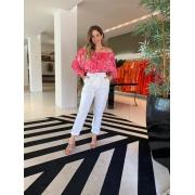 Calça sarja slouchy color Branco -