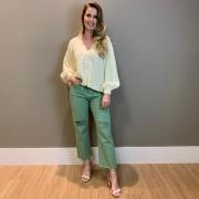 Calça sarja straight rasgos Verde -