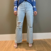 Calça sem pregas Azul -