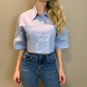 Camisa cropped c bolsos Azul -