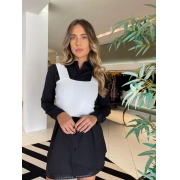 Camisa longa cotton satin Preto -