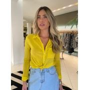 Camisa mg longa bolso Amarelo -