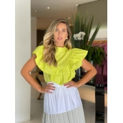 Camisa tricoline decote Verde -