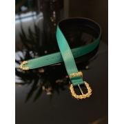 Cinto couro fivela metal Verde -