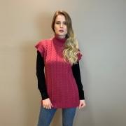Colete trança trico Fucsia -