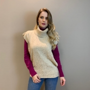 Colete tricot mousse c/ gola Areia -