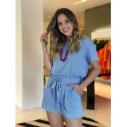 Conj. blusa listrada shorts pregas Azul -