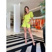 Conj. blusa mg bufante shorts babado Verde -