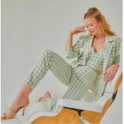 Conj. top, calça e blazer em linho Vich Julia Verde -