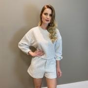 Conjunto blus e shorts metelasse Cinza -