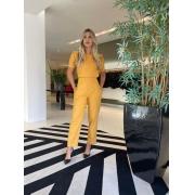Conjunto blusa c/ pregas e calça Amarelo -