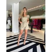 Conjunto blusa corset short sarja Bege -
