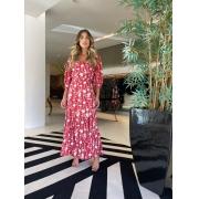 Conjunto blusa e saia floral Vermelho -