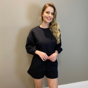 Conjunto blusa e shorts metelasse Preto -