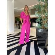 Conjunto blusa laço e calça pantalona linho Pink -