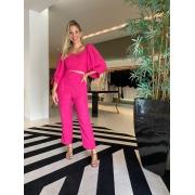 Conjunto blusa mg 7/8 calça cintura alta Pink -