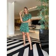 Conjunto blusa punho saia babado Verde -