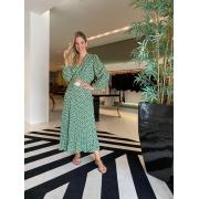 Conjunto blusa transpassada saia longa Verde -